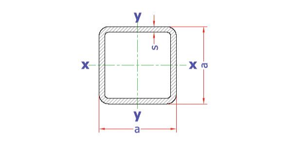 جدول اشتال قوطی پروفیل مربعی